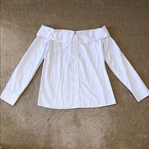 Express White Off Shoulder Button Down Shirt XS